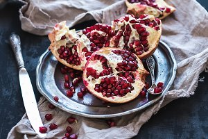 Red ripe peeled pomegranate