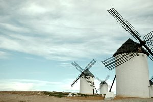 Old Spanish windmills, toned image