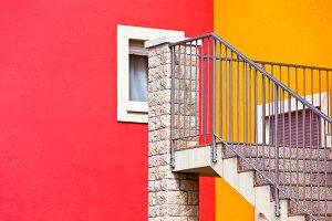 Geometrical bright building walls