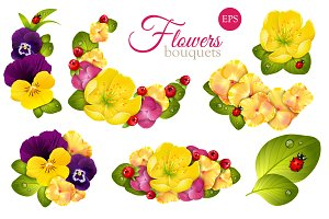 Set of floristic bouquets of flowers