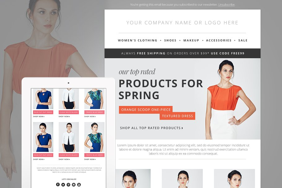 Fashion E-mail Newsletter Blast PSD - Email Templates   Creative ...