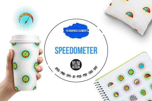 Speedometer Icons Set Pop-art Style