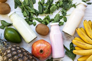Fruit smoothies of different tastes