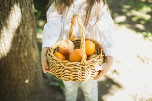 little girl with a basket of fruit