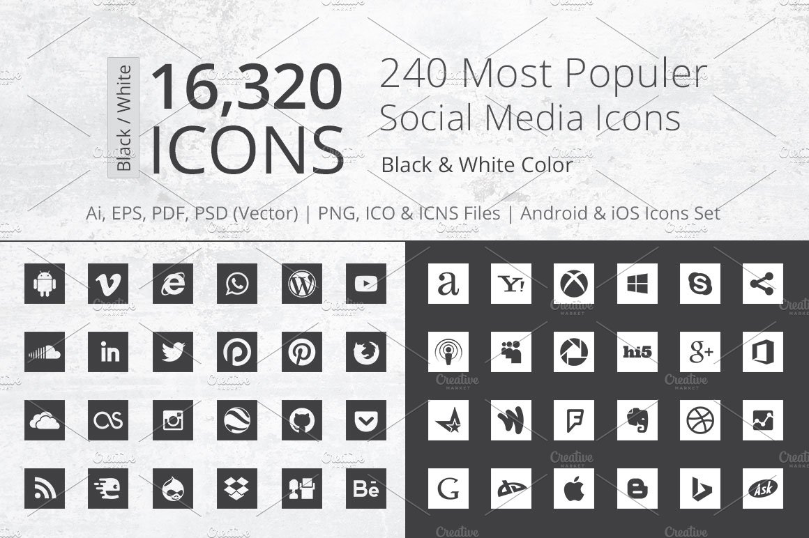 240 Square B/W Social Media Icons ~ Icons ~ Creative Market