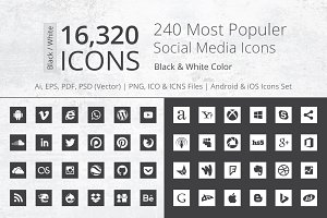 240 Square B/W Social Media Icons