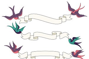 Swallows & Banners Vectors & Clipart