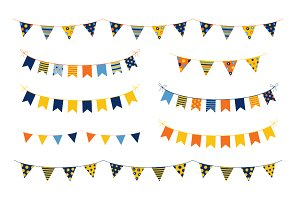 Birthday party bunting clipart set