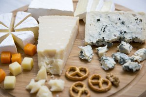 Delicious cheeses: camembert, blue