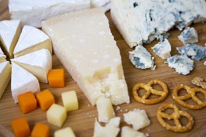 Tasting cheese with pretzels