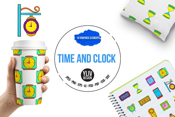 Time And Clock Icons Set Pop-art