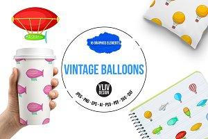 Vintage balloons icons set, cartoon