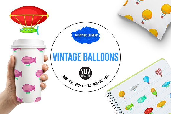 Vintage Balloons Icons Set Cartoon