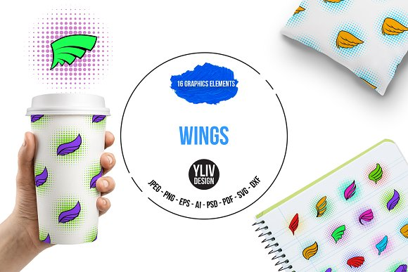 Wings Icons Set Pop-art Style