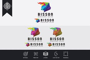 Bison Colorful Polygonal Logo