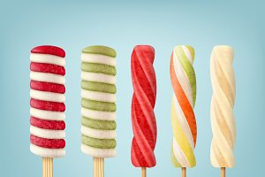 Set of striped lollipop ice cream