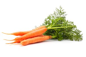 orange carrots with green leaves