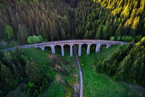 Historic railway viaduct near Telgart in Slovakia