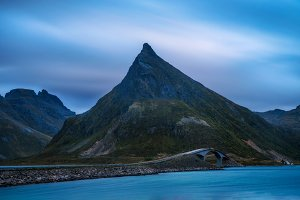 Fredvang bridge on Lofoten islands in Norway