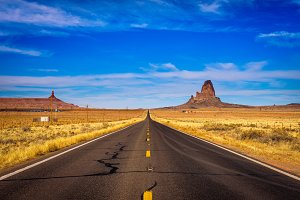 Road leading to Monument Valley in Utah, USA