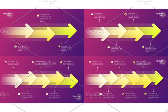 Paper Style Timeline Infographic Concepts With Dynamic Arrows On