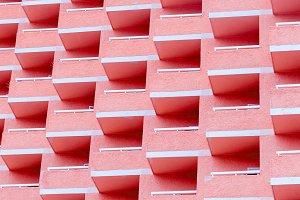 Balconies. Geometry. Pink minimal ar