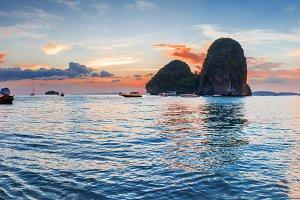 Popular travel tropical karst rocks perfect for climbing Phra Nang Cave