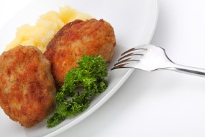 roasted cutlets of pork with potato