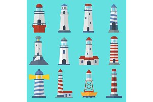 Vector set of cartoon flat vector lighthouses. Searchlight towers for maritime navigation guidance ocean and sea beacon light tower light house. Travel sailing signal navigation symbol.