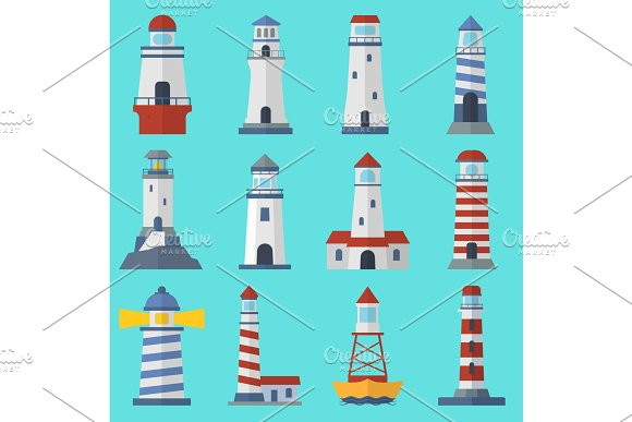 Vector Set Of Cartoon Flat Vector Lighthouses Searchlight Towers For Maritime Navigation Guidance Ocean And Sea Beacon Light Tower Light House Travel Sailing Signal Navigation Symbol