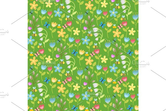 Flowers Foliage Vector Butterfly Seamless Pattern Background Flat Style Berries Natural Greeting Holidays Card Illustration