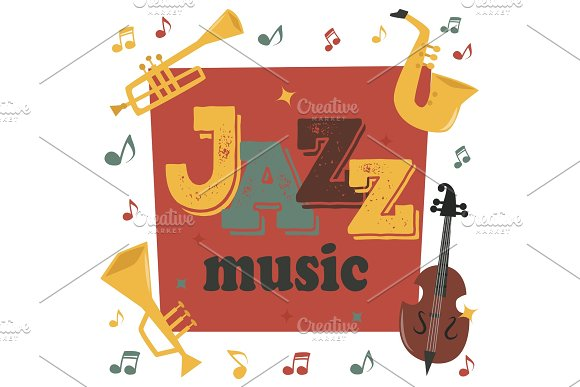 Jazz Musical Instruments Tools Background Jazzband Piano Saxophone Music Sound Vector Illustration Rock Concert Note