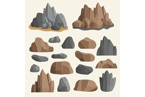 Stones rocks in cartoon style big building mineral pile. Boulder natural rocks and stones granite rough illustration rocks and stones nature boulder geology gray cartoon material