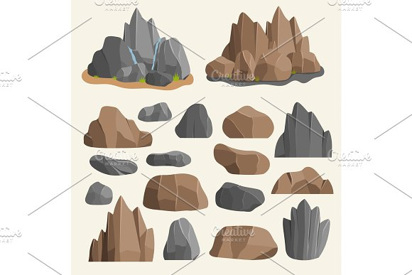 Stones Rocks In Cartoon Style Big Building Mineral Pile Boulder Natural Rocks And Stones Granite Rough Illustration Rocks And Stones Nature Boulder Geology Gray Cartoon Material