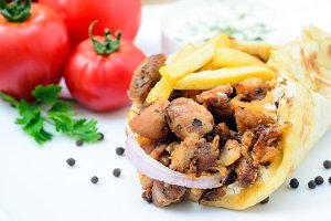 Traditiona Greek pita gyros with mea