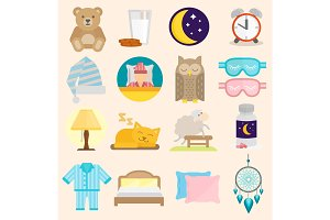 Sleep time vector icons flat set with window milk isolated illustration sleep icons moon set pillow clock dream healthy lifestyle. Bedroom sleeptime rest star human collection sleep icons