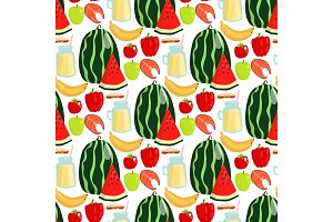 Cartoon fresh watermelon fruits picnic food summer nature flat style seamless pattern design vector illustration.