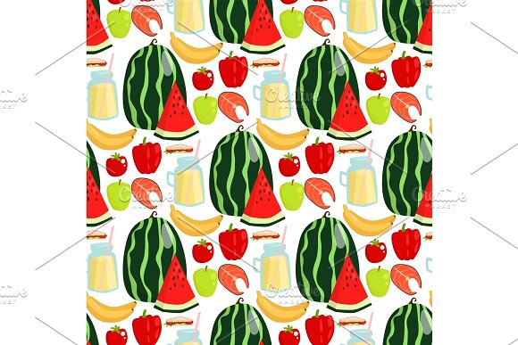 Cartoon Fresh Watermelon Fruits Picnic Food Summer Nature Flat Style Seamless Pattern Design Vector Illustration