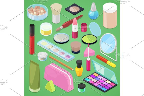 Cosmetic Vector Beauty Make Up Cosmetology For Beautiful Woman With Makeup Foundation Powder Or Eyeshadow Illustration Set Of Cosmetician Accessories In Cosmetologist Isometric Isolated On Background