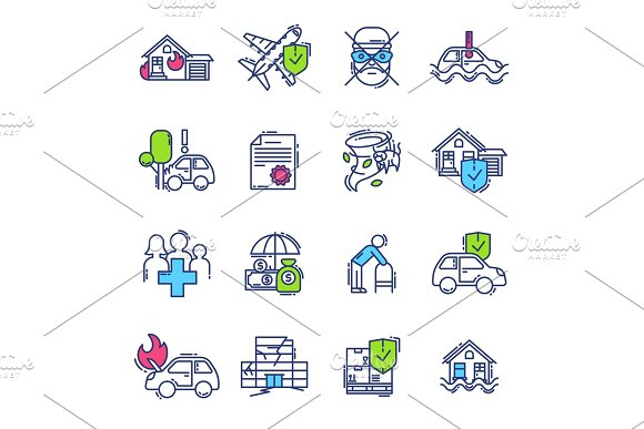 Insurance Icon Vector Life Or Health Ensurance Logo And Insurant Family Or House Protection Illustration Set Of Insurer Logotype Isolated On White Background