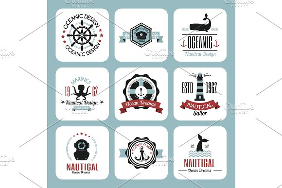 Sea Marine Vector Nautical Logo Icons Sailing Themed Label Or With Ship Ribbons Travel Element Graphic Badges Illustration