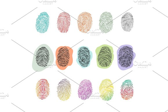 Fingerprint Vector Fingerprinting Identity With Fingertip Identification Illustration Set Of Fingering Print Or Security Thumbprint Isolated On White Background