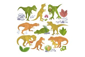 Dinosaur vector tyrannosaurus rex cartoon character dino and jurassic tyrannosaur attacking illustration set of ancient animal isolated on white background
