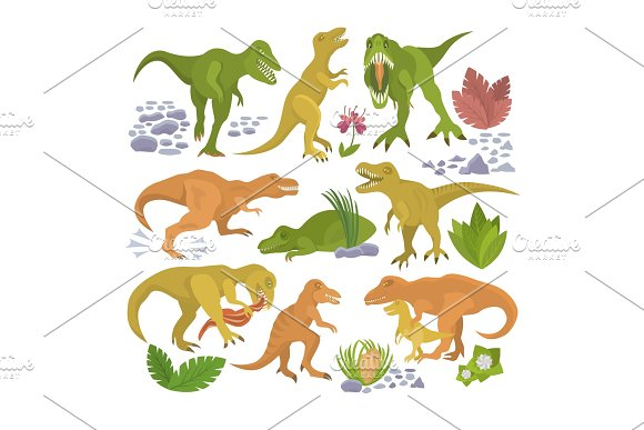 Dinosaur Vector Tyrannosaurus Rex Cartoon Character Dino And Jurassic Tyrannosaur Attacking Illustration Set Of Ancient Animal Isolated On White Background