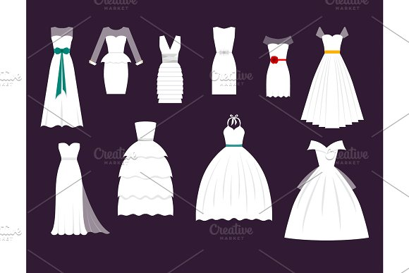 Wedding White Bride Vector Dress Elegance Fashion Style Celebration Bridal Shower Weddind-day Composition Illustration