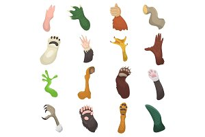 Animal paw vector animalistic pets claw or hand of cat or dog and bears or monkey paws illustration mammals pawky hello set isolated on white background