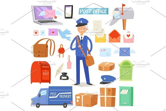 Postoffice Vector Postman Delivers Mails In Postbox Or Mailbox And Post Character Carries Mailed Letters In Letterbox Illustration Set Postal Delivery Service Isolated On White Background