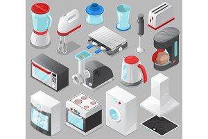 Household appliances vector kitchen homeappliance for house set cooker or washing machine in electric shop and microwave in appliancestore isometric illustration isolated on background