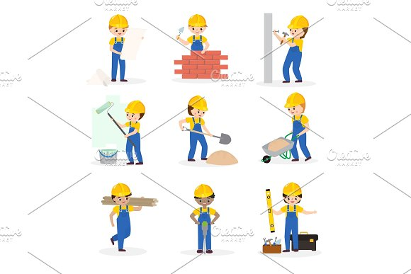Builder Vector Cartoon Character Constructor Building Construction For Newbuild Illustration Worker Or Contractor Buildup Constructively Set Isolated On White Background