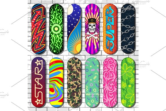 Skateboard Vector Skateboarders Board For Skateboarding Jumps On Springboard In Skatepark Set Skating Tools Illustration Isolated On Background